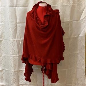 Red shawl style wrap
